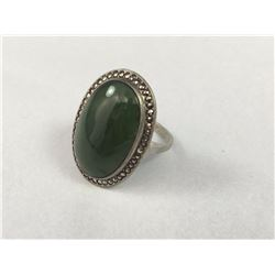 Early Sterling Silver Ring With Large Greenstone or Jade Centre & Marcasites - Inside Diameter 17mm