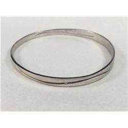 Vintage Sterling Silver Bangle with Centre Wave Cuts With Two Diamonds - Inside Diameter 68mm - Weig