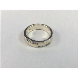 Heavy Vintage Sterling Silver Ring with Four Large Old Cut Diamonds - Inside Diameter 18.25mm - Weig