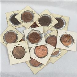Large Group of New Zealand Pennies With Higher Grades