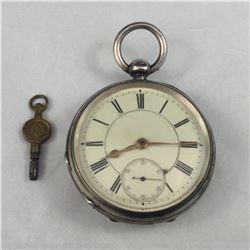 1880 Sterling Waltham Key Wind Pocket Watch 1880 Sterling Waltham Key Wind Pocket Watch
