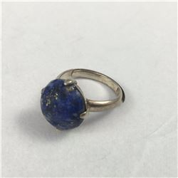 Antique Chinese Lapis Ring with Six Chinese Character Marks stamped on Inside Band - Stone Measures