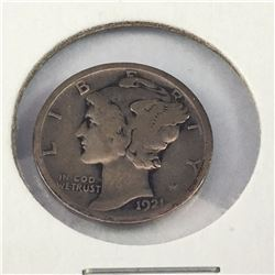 1921 US Silver Mercury Dime - Key Date!!! - US Catalogue Value $110 NZD