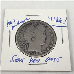 1910 US Barber Silver Half Dollar Coin - (Philadelphia Mint) - Low Mintage only 418K Minted!!
