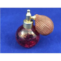 Vintage Crazed Cranberry Glass Pefume Bottle with Spray Atomizer (Bulb part is hard) 75mm Tall