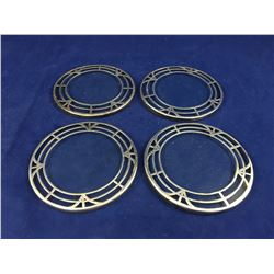Set of Four Antique .999 Fine Silver Overlay Beverage Coasters - 76mm Across