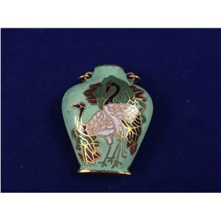 Vintage Cloisonné Amulet Pendant With Scene of Two Cranes - 33mm Tall