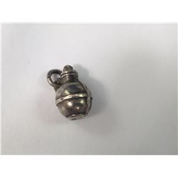 1903 Birmingham England Sterling Silver Gourd Pendant - Made by William James Holmes - 16mm Height