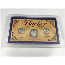 Cased USA Barber Coin Set - 1909 Barber Silver Quarter, 1913-P Silver Dime, 1912-D Silver Dime