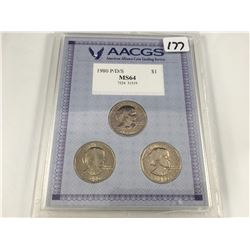 USA Cased & Graded 1980 Susan B. Anthony One Dollar Coins P/D/S Mints - MS64