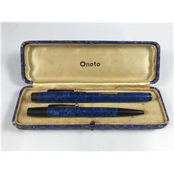 Cased Onoto De La Rue Fountain Pen (14ct Gold Nib) & Pencil Set - Scarce Lapis Blue Swirl Colourway