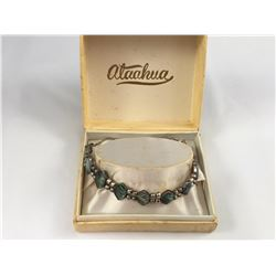 Stunning Vintage Ataahua Sterling Silver & Paua (Abalone) Bracelet with Safety Chain - 150mm Length-