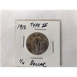 1918 US Standing Liberty Quarter Coin Type II (Fine)