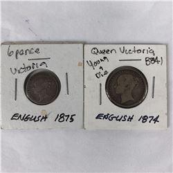 1874 English Shilling & 1875 English Sixpence Coins