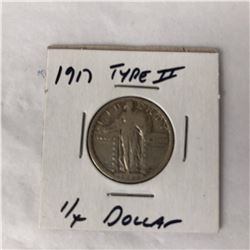 1917 US Standing Liberty Quarter Coin Type II (Fine)