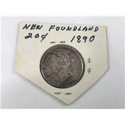 1890 Newfoundland 20 Cent Silver Coin (VF)