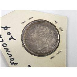 1896 Newfoundland 20 Cent Silver Coin (VF)