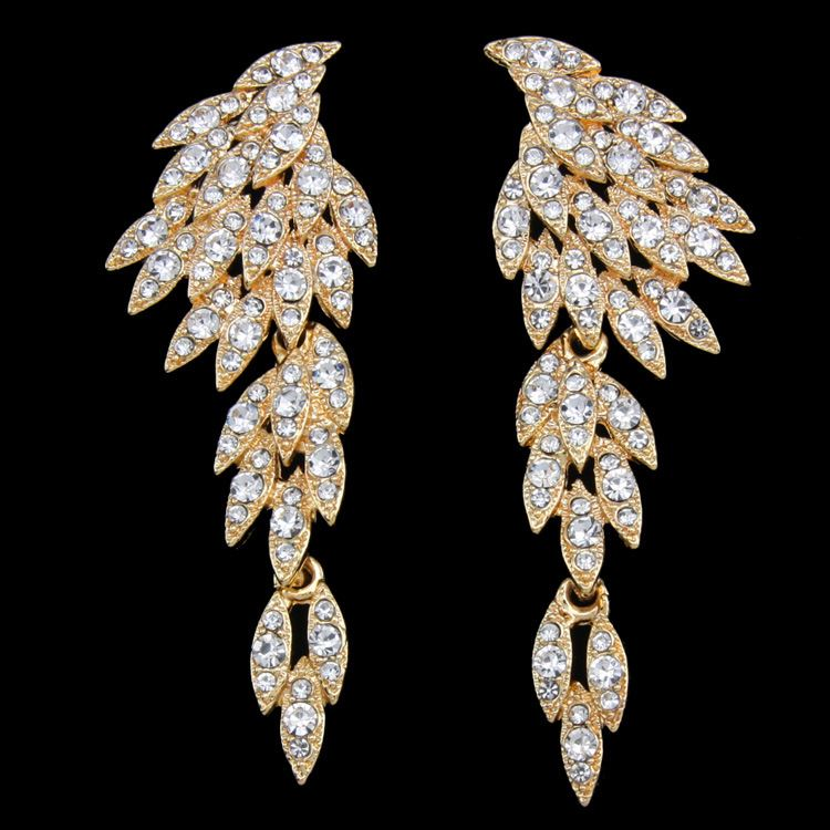 b9bd9f0d14232d Image 1 : Luxury Crystal Wedding Big Angel Wings Earrings Gold Color