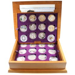 2002-2003 Queen Elizabeth II 24-coin Golden Jubilee Collection Set in Deluxe Wooden Display Box. Thi