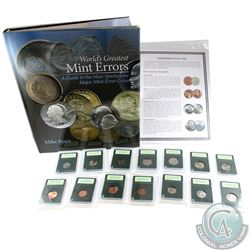 Rare USA Major Error 14-Coin Collection with  World's Greatest Mint Errors  Book. You will receive 1