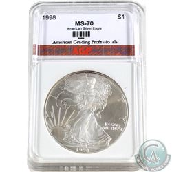 1998 $1 USA .999 Fine Silver Eagle AGP Certified MS-70 (TAX Exempt)