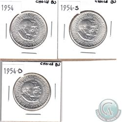 1954, 1954-S & 1954-D USA George Carver Booker T. Washington Commemorative Half Dollar Set. You will