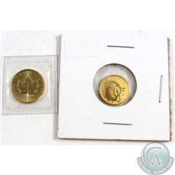 1987 Canada $5 1/10oz Gold Maple Leaf Sealed in Original Plastic & 2003 China 20 Yuan 1/20oz Gold Pa