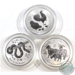 Lot of 3x Australia Lunar 1oz .999 Fine Silver Coins in Capsules - 2013 Year of the Snake, 2015 Year
