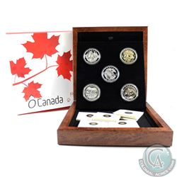2013 Canada $25 Complete O Canada 5-Coin Fine Silver Set with Deluxe Display Case. The Wolf coin has