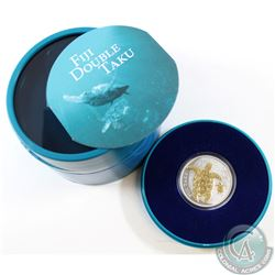 2012 Fiji $2 Gold Gilded Double Taku Turtle and Baby Fine Silver Coin with Deluxe Packaging (TAX Exe