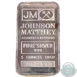 5oz Johnson Matthey .999 Fine Silver Bar (TAX Exempt)