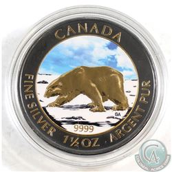 2013 Canada $8 Polar Bear Gold Plated & Coloured 1.5oz .9999 Fine Silver Coin in Capsule (coin light