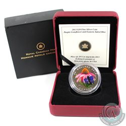 2013 Canada $20 Purple Coneflower & Eastern Tailed Blue Butterfly Fine Silver Coin (outer sleeve lig