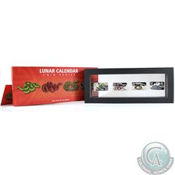 2013 Cook Islands $1 Year of the Snake Rectangular 4-coin Fine Silver Colourized Set (Outer sleeve h