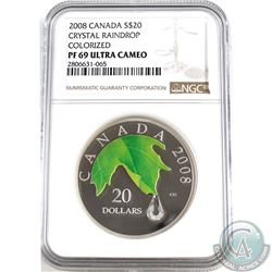 2008 Canada $20 Crystal Raindrop Colourized NGC Certified PF-69 Ultra Cameo (Scratches on holder) TA