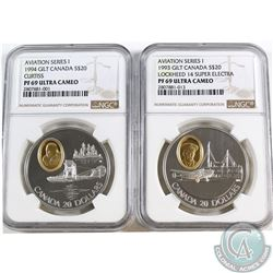 2x Canada $20 Aviation Series I NGC Certified PF-69 Ultra Cameo - 1993 Lockheed 14 Super Electra & 1