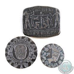 1oz, 1/4oz & 1/10oz Monarch Antique Egypt Designed .999 Fine Silver Bar/Rounds. 3pcs (TAX Exempt)