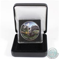 2014 Canada $5 Peregrine Falcon Coloured .9999 Fine Silver Maple Leaf in Capsule & Black Display Box