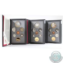 1993, 1994, 1995 Canada 7-coin Proof Double Dollar Sets. Please note coins may be toned. 3pcs.