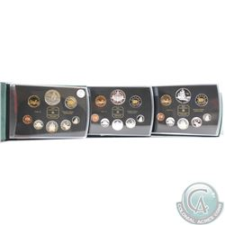 1998, 1999, & 2000 Canada Proof Double Dollar Sets. Please note outer boxes are not included and coi