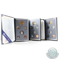 1993, 1994, & 1995 Canada Specimen 6-coin Sets. 3pcs.