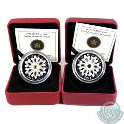 2011 Emerald & 2011 Topaz Canada $20 Fine Silver Crystal Snowflakes. Please note outer black cardboa