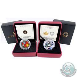 2013 Candy Cane & 2014 Snowman Canada $20 Venetian Glass Fine Silver Coins (Tax Exempt) 2pcs.