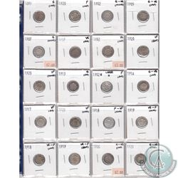 Mixed Page of 20x Canadian Silver 5-Cent Coins. Dates range from 1899 to 1920. Page sold as is. Plea