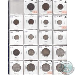 Mixed Page of 19x Newfoundland Coin Collection. Dates range from 1873 to 1945. Page sold as is. Plea