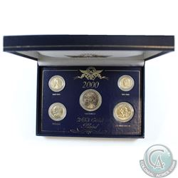 2000 United States 24Kt Gold Plated 1 cent, 5 cent, 10 cent, Quarter, and Dollar Collection in Prese