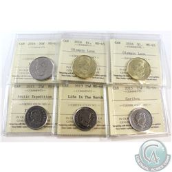 Estate Lot of 6x Canada ICCS Certified Coins. This lot includes: 2013 Arctic Expedition 25c MS-66, 2