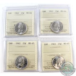 4x 1962 Canada 25-cent ICCS Certified Coins. You will receive 2x MS-65 & 2x MS-64 coins. 4pcs