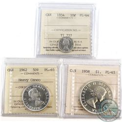 1954 Canada 10-cent ICCS Certified PL-64, 1962 50c ICCS Certified PL-65; Heavy Cameo & 1958 Canada S