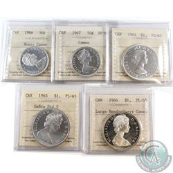 Estate Lot of 5x ICCS Certified Canada 50-cent & Silver Dollars. This lot includes: 1966 50c PL-65 H